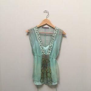 Beautiful sleeveless soft mint green top.